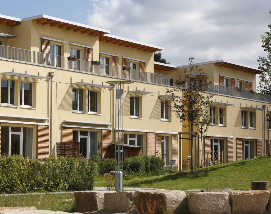 Reihenhäuser der Passivhaussiedlung von den Neustadtarchitekten